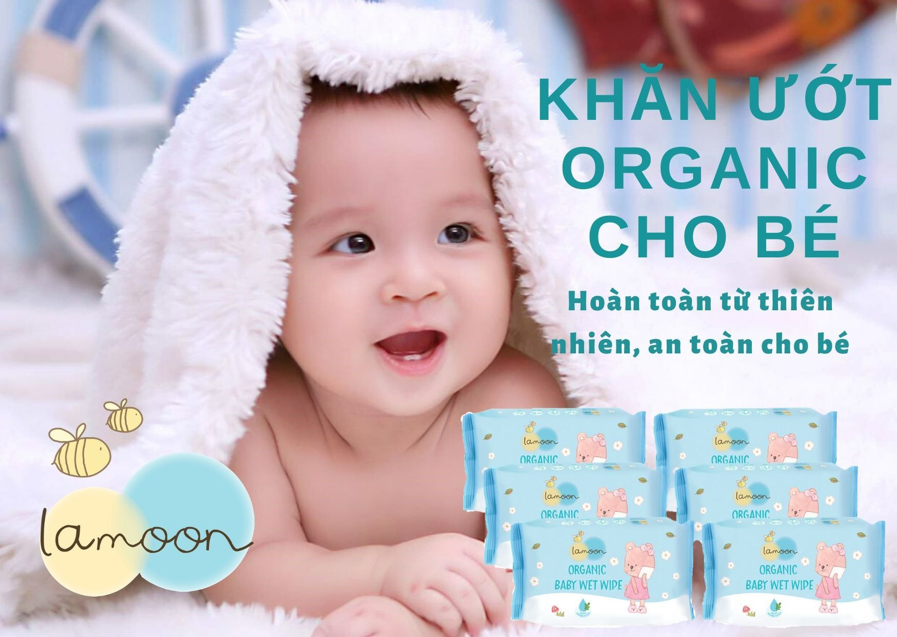 Combo 6 bịch khăn ướt du lịch Organic cho bé Lamoon - Loại 20 miếng/bịch