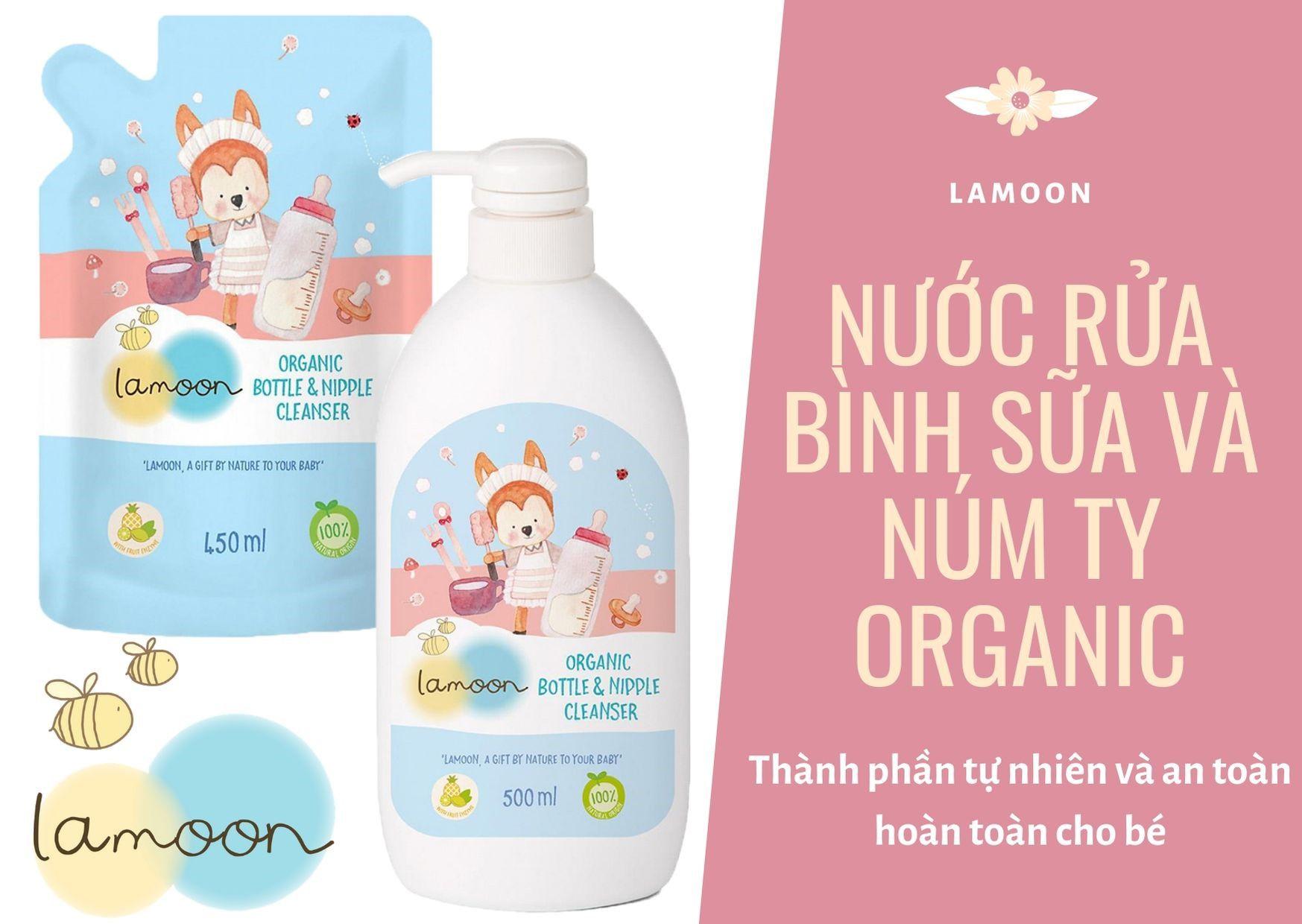 Nước rửa bình sữa và núm ty Organic cho bé Lamoon - Bình 500ml