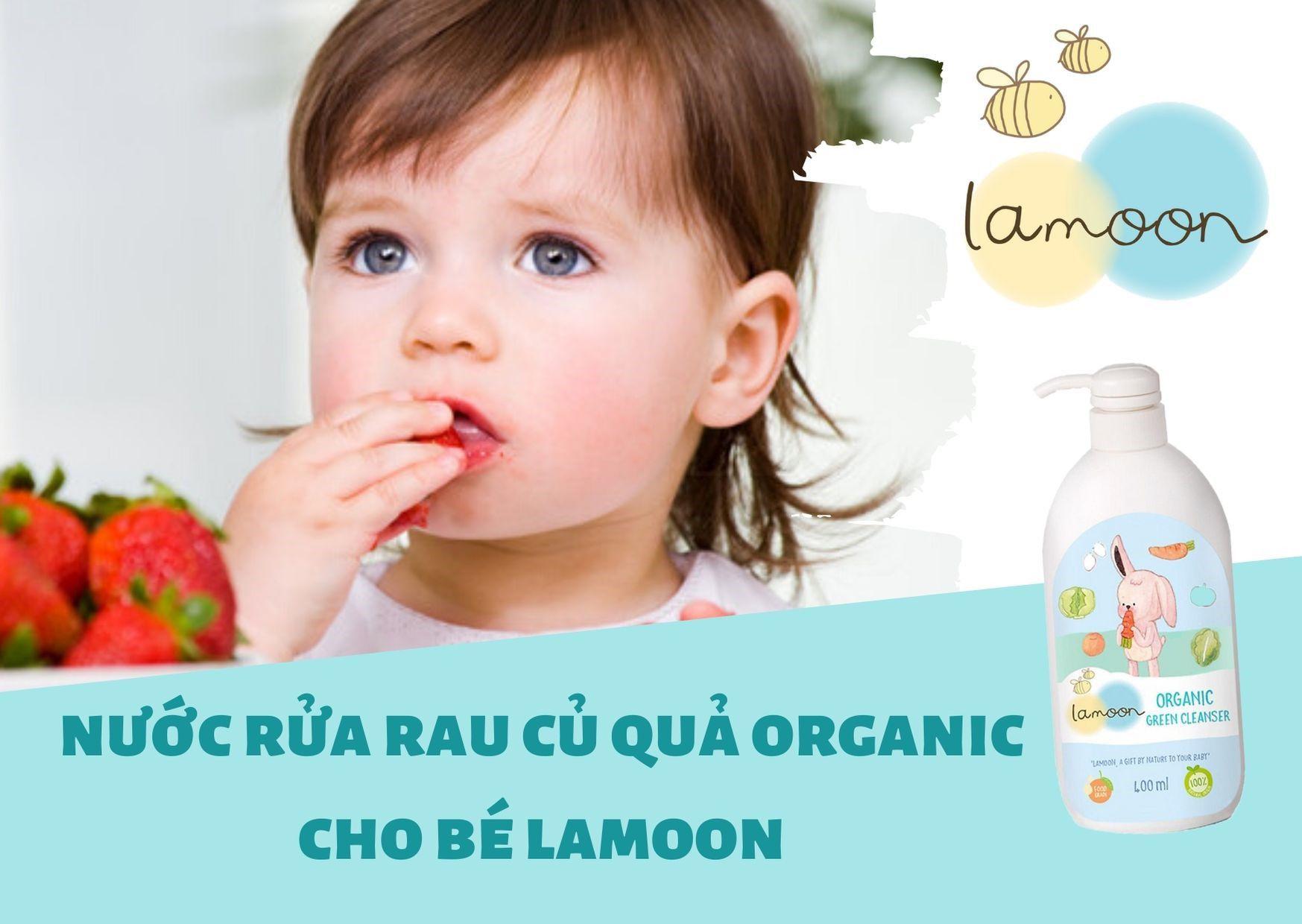 Nước rửa rau củ quả Organic cho bé Lamoon - Bình 400ml