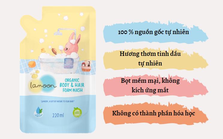 Đặc điểm sữa tắm gội Organic cho bé dạng bọt Lamoon - Túi 220ml