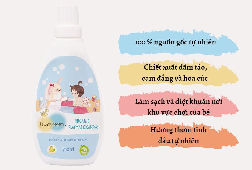 Đặc điểm nước lau thảm Organic cho bé Lamoon - Bình 750ml