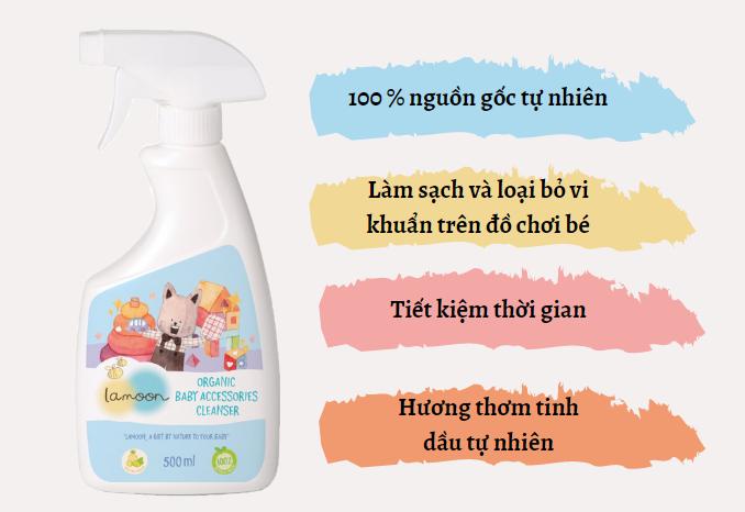 Đặc điểm nước rửa đồ chơi Organic cho bé Lamoon - Bình 500ml