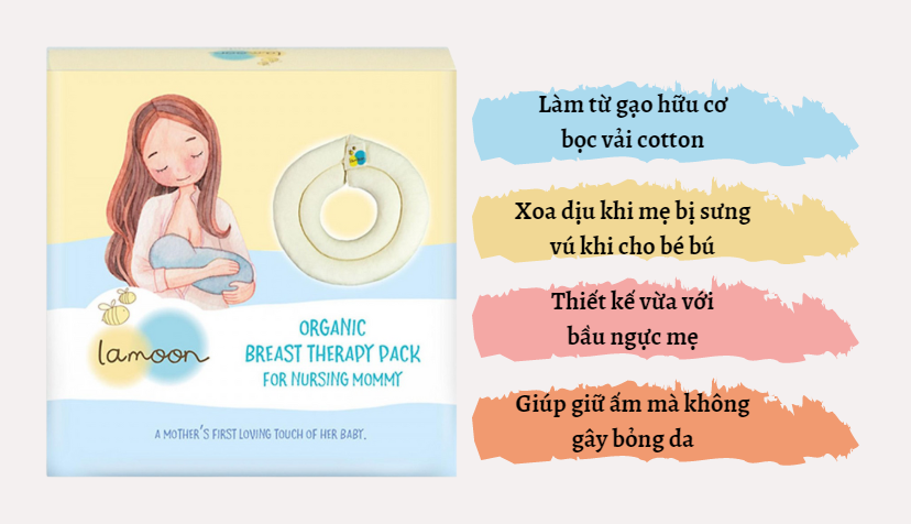 Đặc điểm túi chườm ngực kích sữa cho mẹ từ Gạo Organic