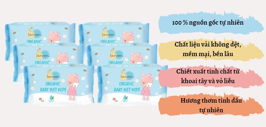 Đặc điểm combo 6 bịch khăn ướt du lịch Organic cho bé Lamoon - Loại 20 miếng/bịch