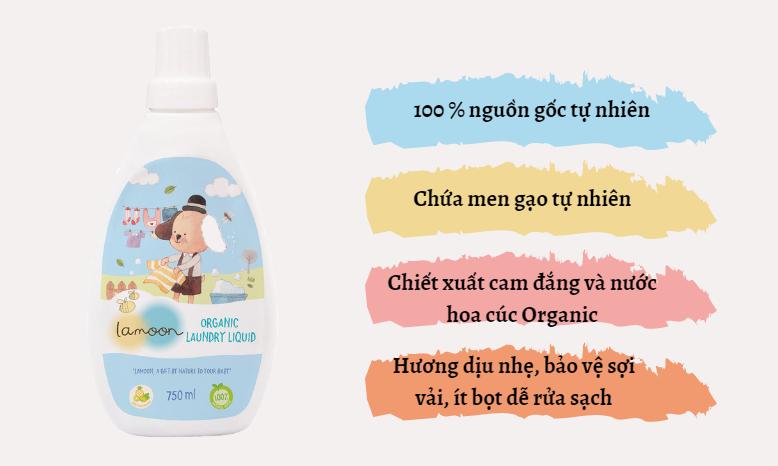 Đặc điểm nước giặt quần áo Organic cho bé Lamoon - Bình 750ml