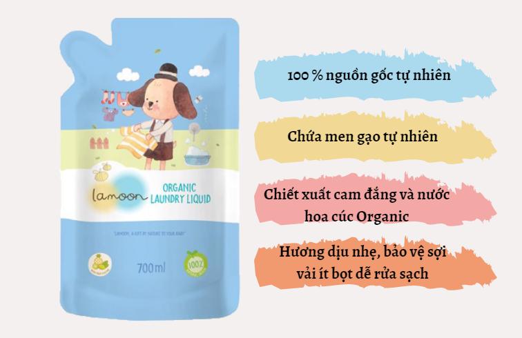 Đặc điểm nước giặt quần áo Organic cho bé Lamoon - Túi 700ml