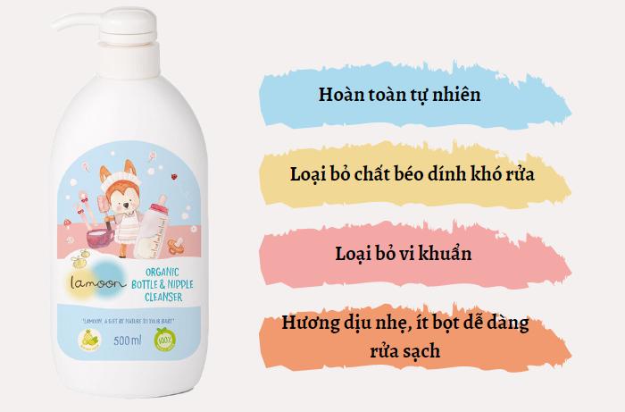 Đặc điểm nước rửa bình sữa và núm ty Organic cho bé Lamoon - Bình 500ml