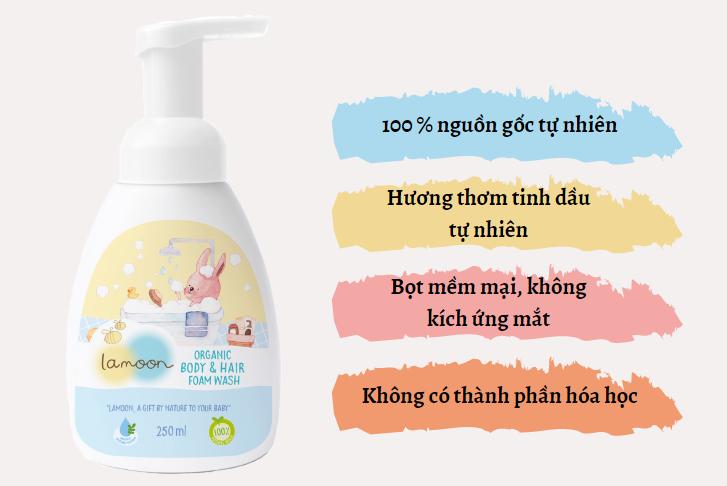 Đặc điểm sữa tắm gội Organic cho bé dạng bọt Lamoon - Bình 250ml
