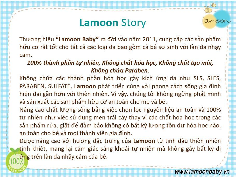 Sữa tắm gội dưỡng ẩm Organic cho bé dạng gel Lamoon - Bình 250ml