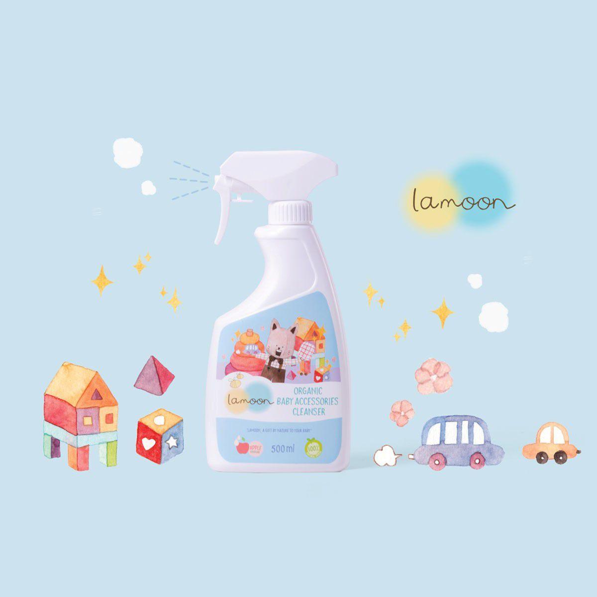 Nước rửa đồ chơi Organic cho bé Lamoon - Bình 500ml