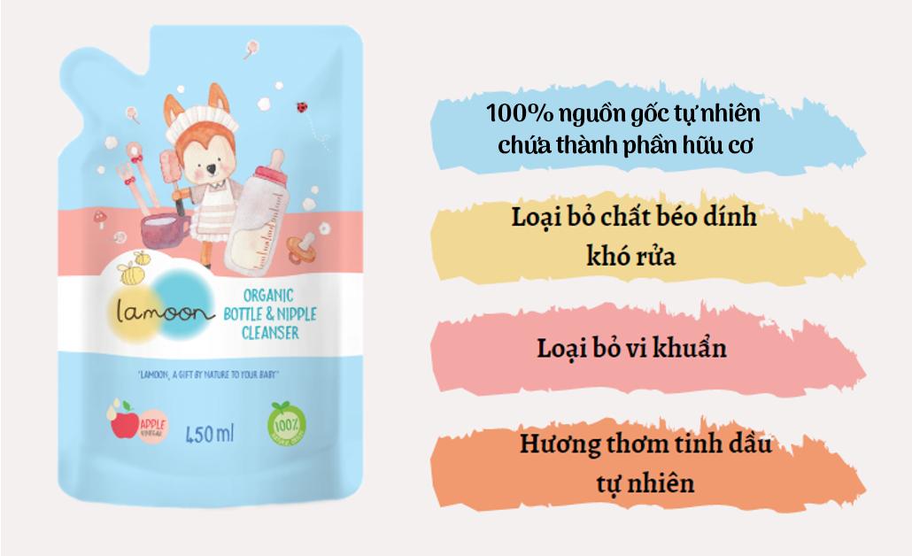 Đặc điểm nước rửa bình sữa Organic cho bé Lamoon - Túi 450ml